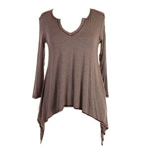 Studio M 3/4-Sleeve Striped Split Neck Tunic